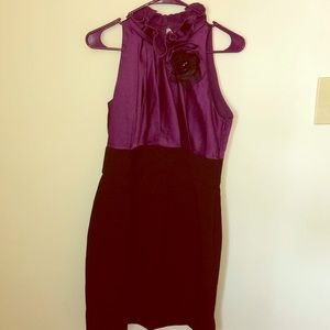 Pleated formal dress with hand sewn flower